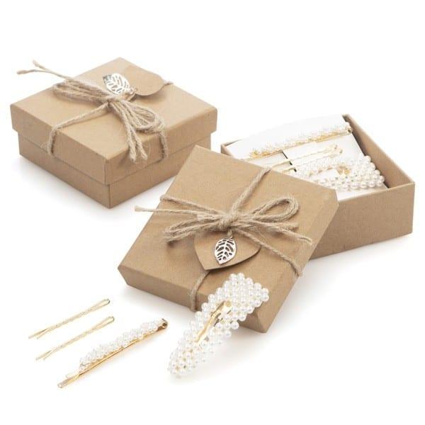 Caja regalo pasadores perlas